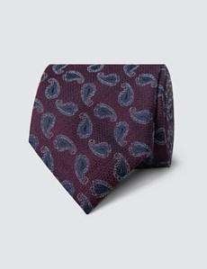 Men's Plum Textured Paisley Tie - 100% Silk