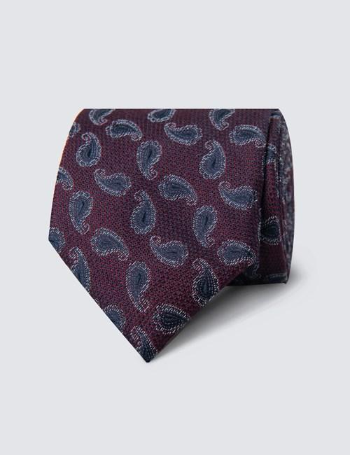 Krawatte – Seide – Standardbreite – Violett Paisley Blütenblatt