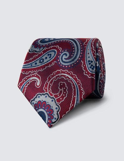Men's Fuchsia Bold Paisley Tie - 100% Silk