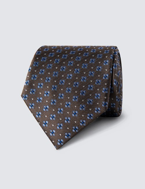 Men's Brown & Light Blue Windmill Print Tie - 100% Silk
