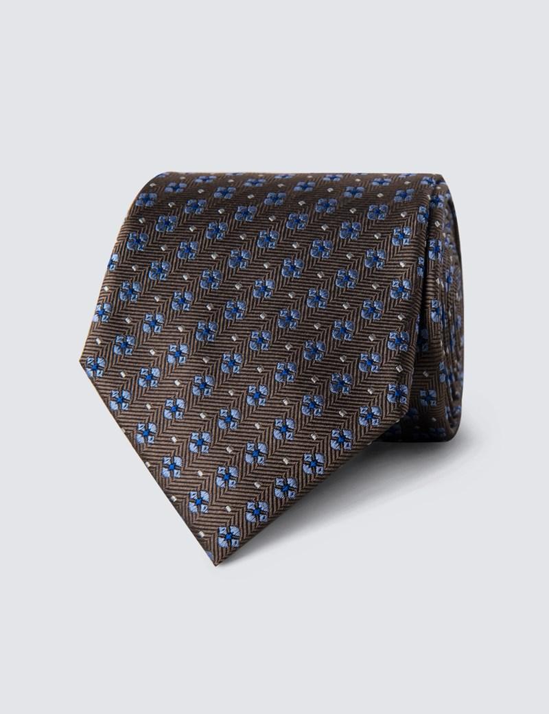Men's Brown & Light Blue Windmill Print Tie - 100% Silk
