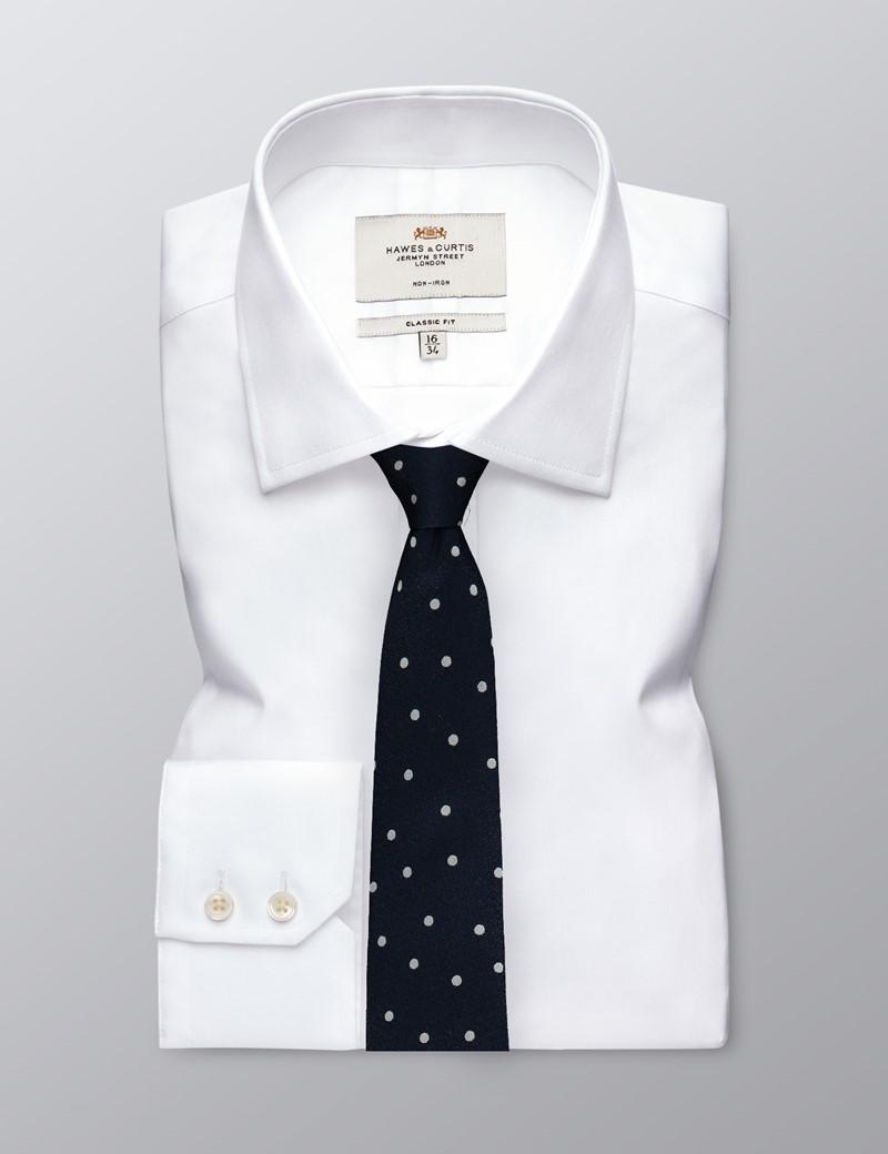 Men's Navy & White Textured Spot Tie - 100% Silk