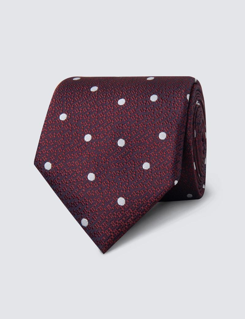 Men's Wine & White Textured Spot Tie - 100% Silk