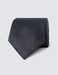 Krawatte – Seide – Standardbreite – Miniquader schwarz