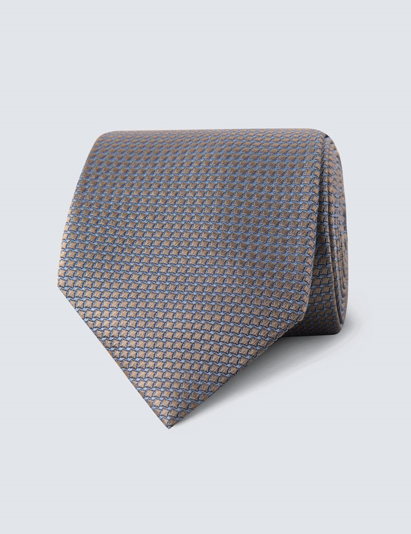 Men's Camel Two Tone Squares Tie - 100% Silk