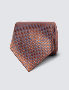 Men's Orange Two Tone Squares Tie - 100% Silk