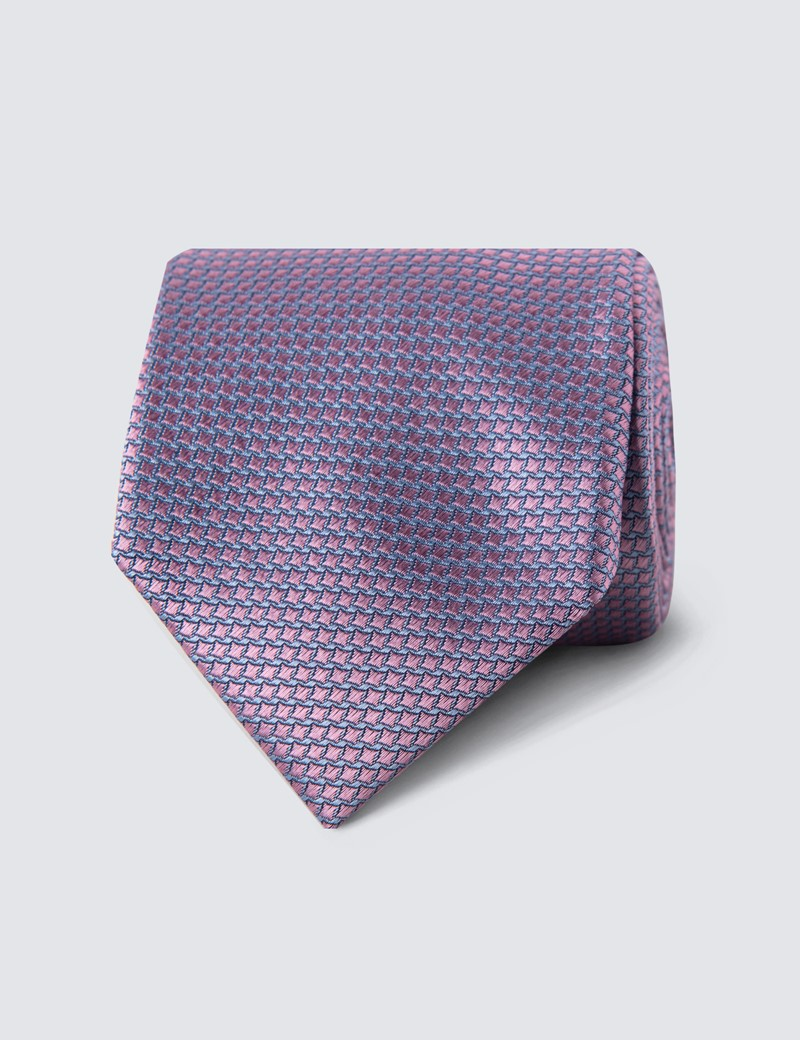 Men's Pink Two Tone Squares Tie - 100% Silk