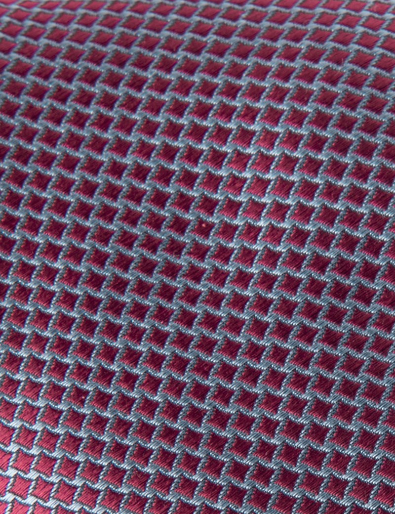 Men's Red Two Tone Squares Tie - 100% Silk