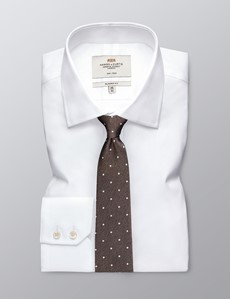 Men's Brown & White Spotted Birdseye Tie - 100% Silk