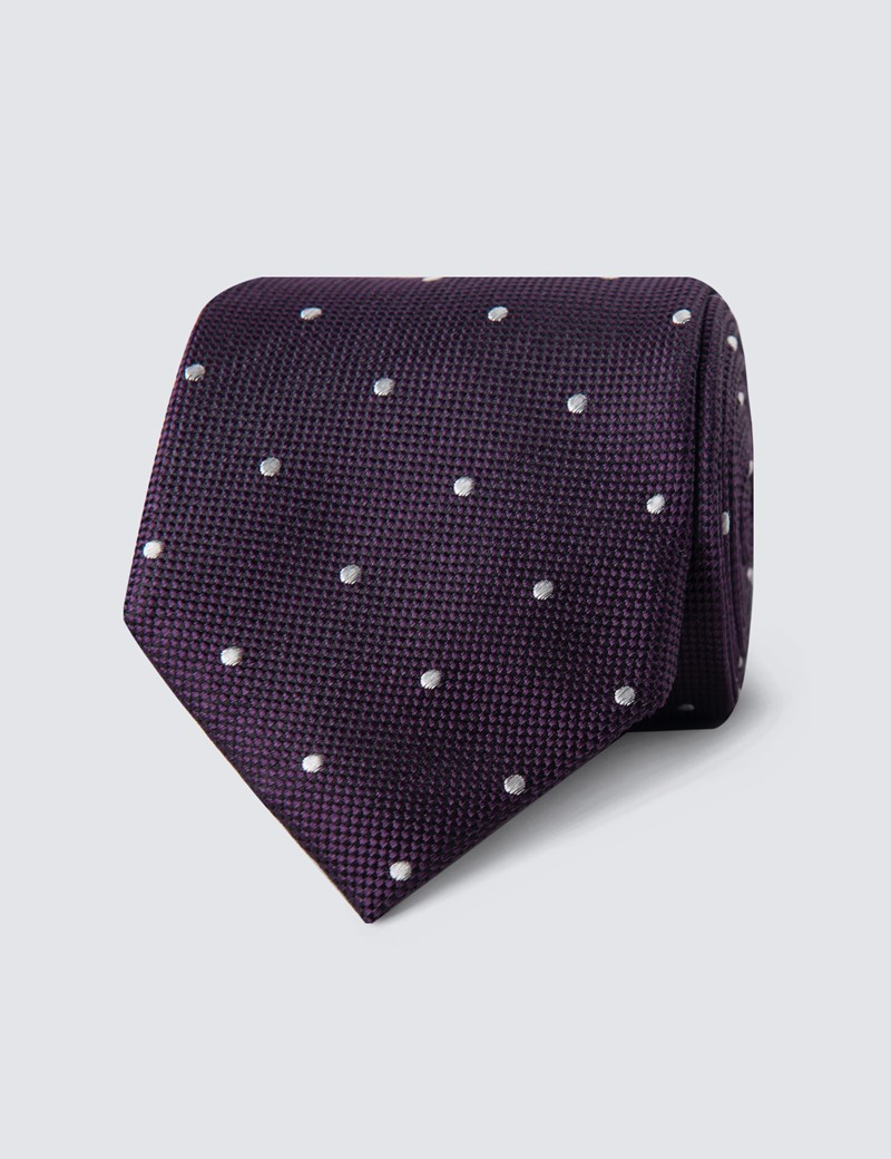 Men's Purple & White Spotted Birdseye Tie - 100% Silk