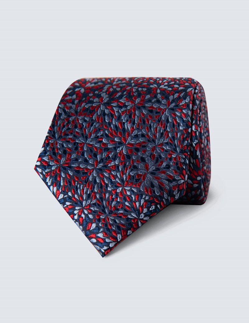 Men's Navy & Red Two Tone Dash Tie - 100% Silk
