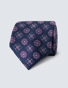 Men's Navy & Pink Contrast Medallions Tie - 100% Silk