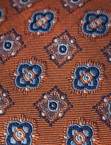 Men's Orange & Blue Contrast Medallions Tie - 100% Silk