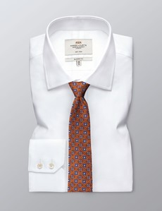 Krawatte – Seide – Standardbreite – orange & blau Medaillons