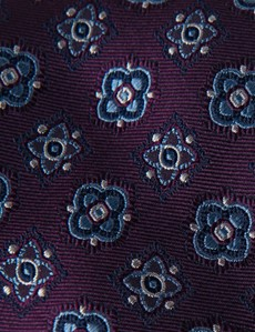 Men's Purple & Blue Contrast Medallions Tie - 100% Silk
