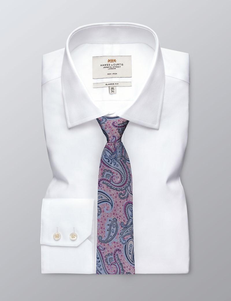 Men's Purple Bold Paisley Tie - 100% Silk