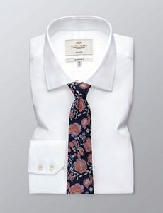 Krawatte – Seide – navy & orange florales Muster