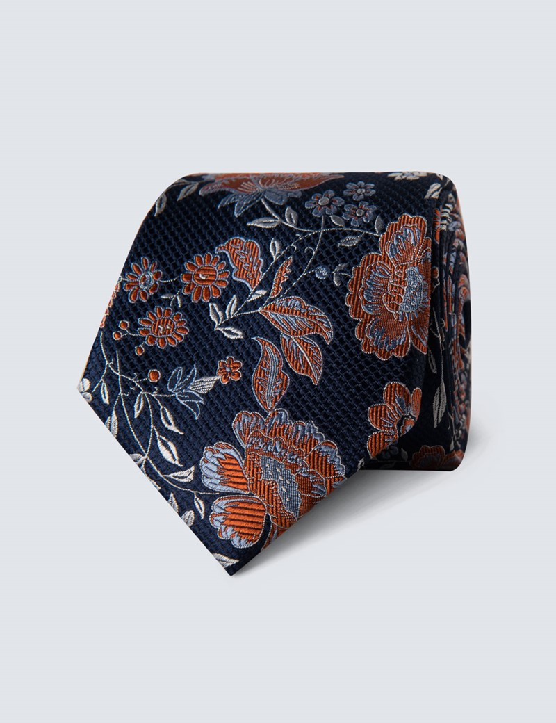 Men's Navy & Orange Bold Floral Tie - 100% Silk