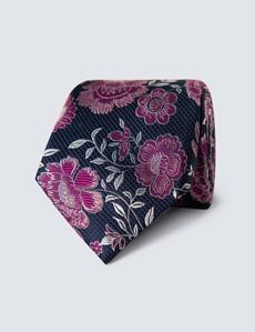 Men's Navy & Purple Bold Floral Tie - 100% Silk