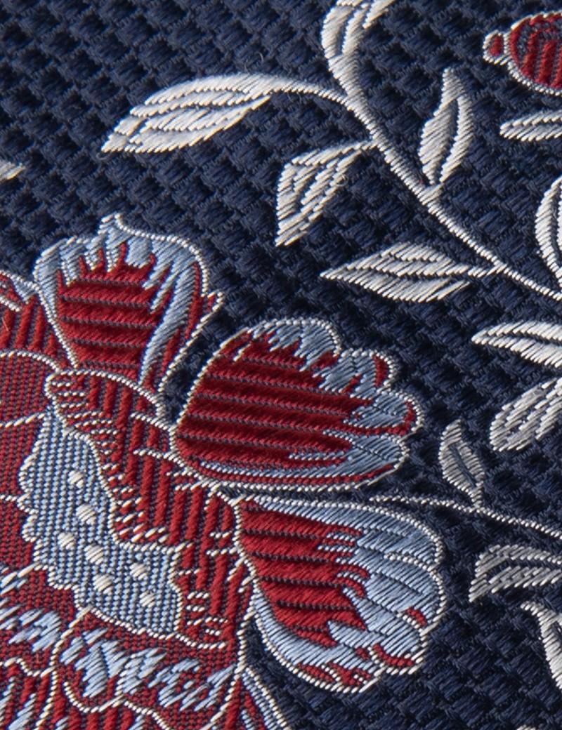 Krawatte – Seide – navy & rot florales Muster