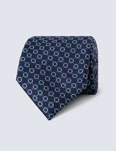 Men's Navy & Blue Linked Geometric Squares Tie - 100% Silk