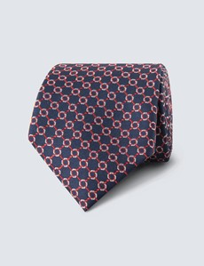 Men's Navy & Red Linked Geometric Squares Tie - 100% Silk