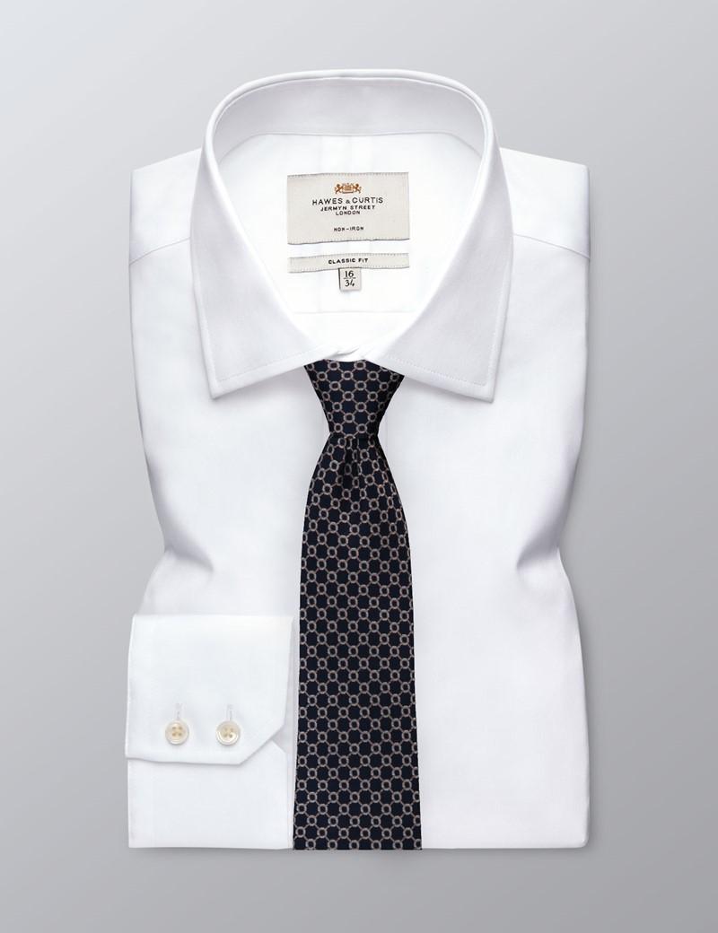 Krawatte – Seide – Standardbreite – navy & braun Kettenmuster