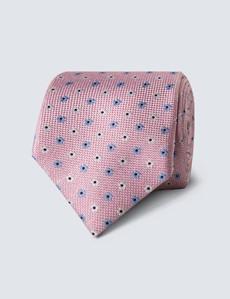 Men's Pink Melange Geometric Daisy Tie - 100% Silk