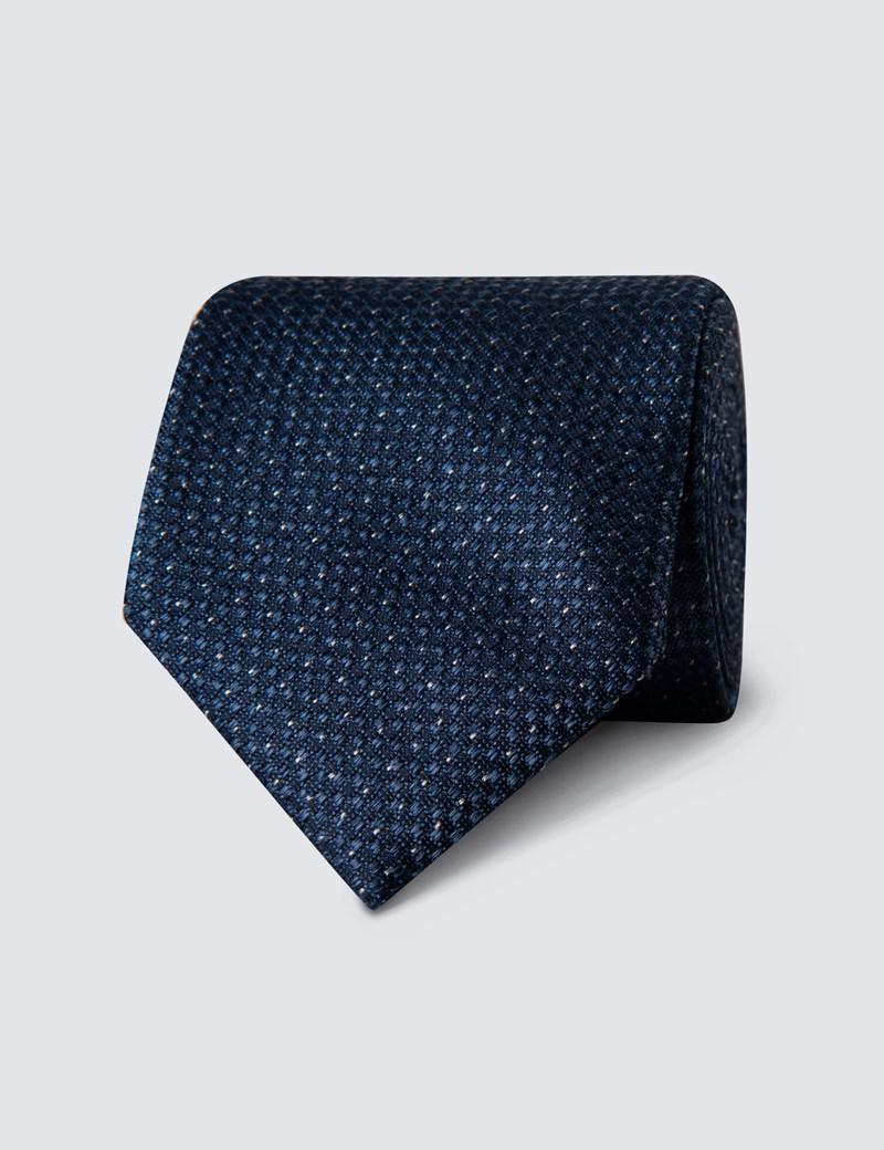 Men's Blue Melange Semi Plain Tie - 100% Silk