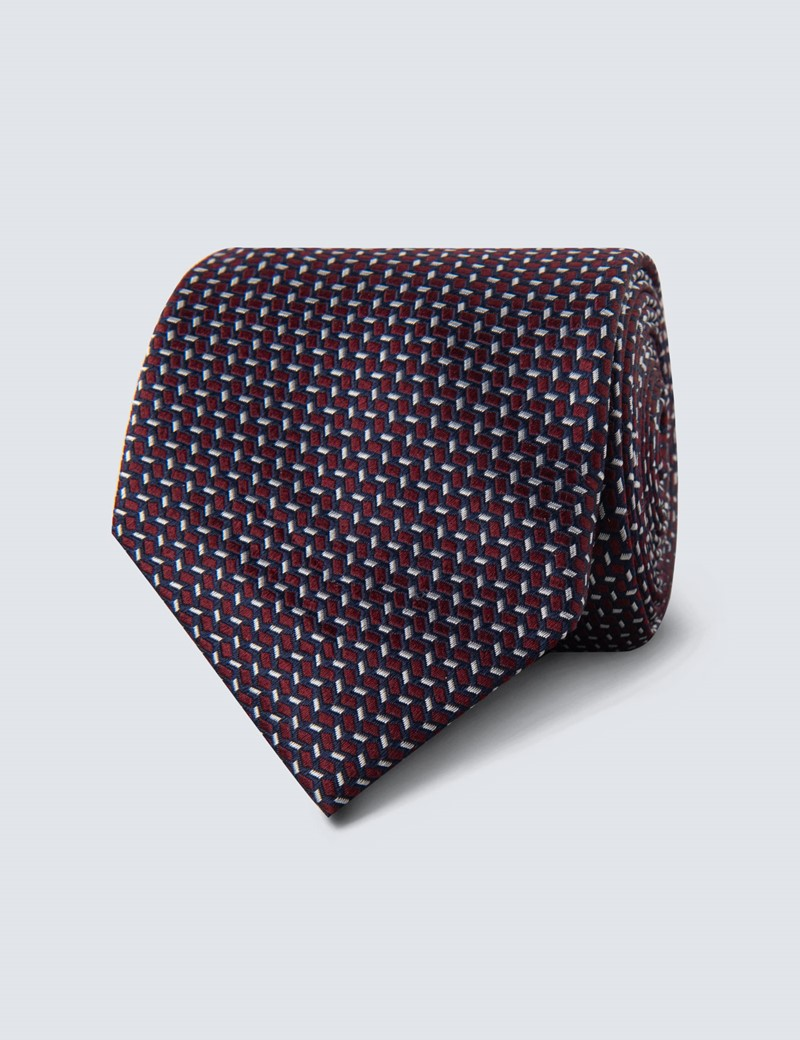 Men's Wine & Navy Two Tone Tile Tie - 100% Silk
