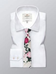 Krawatte – Baumwolle – weiß & rosa Wildrosen