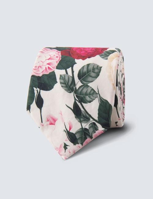 Men's Pink & White Floral Tie - 100% Cotton