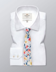 Men's Blue & Yellow Floral Tie - 100% Cotton