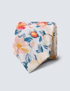 Krawatte – Baumwolle – blau & gelb Blumen
