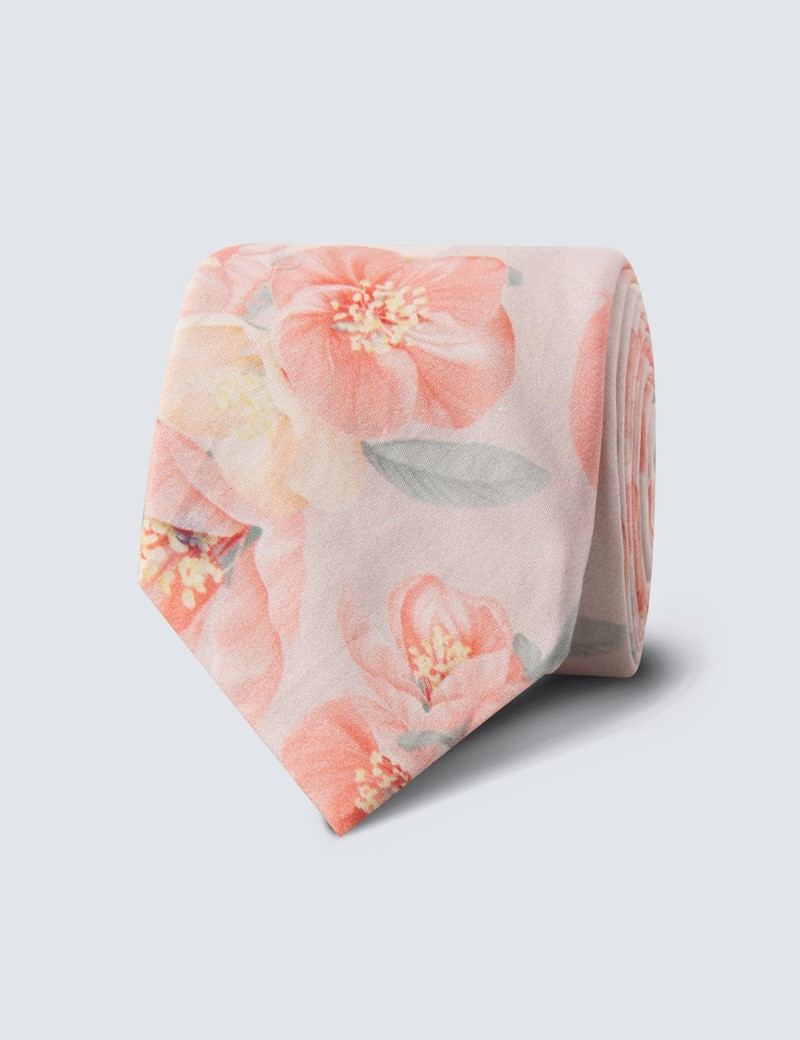 Men's Peach Floral Tie - 100% Cotton