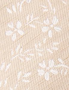 Krawatte – Seide-Leinen Mix – creme eingewebtes Muster