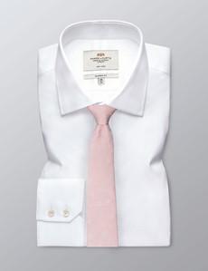 Men's Pink Silk Linen Blend Floral Tie