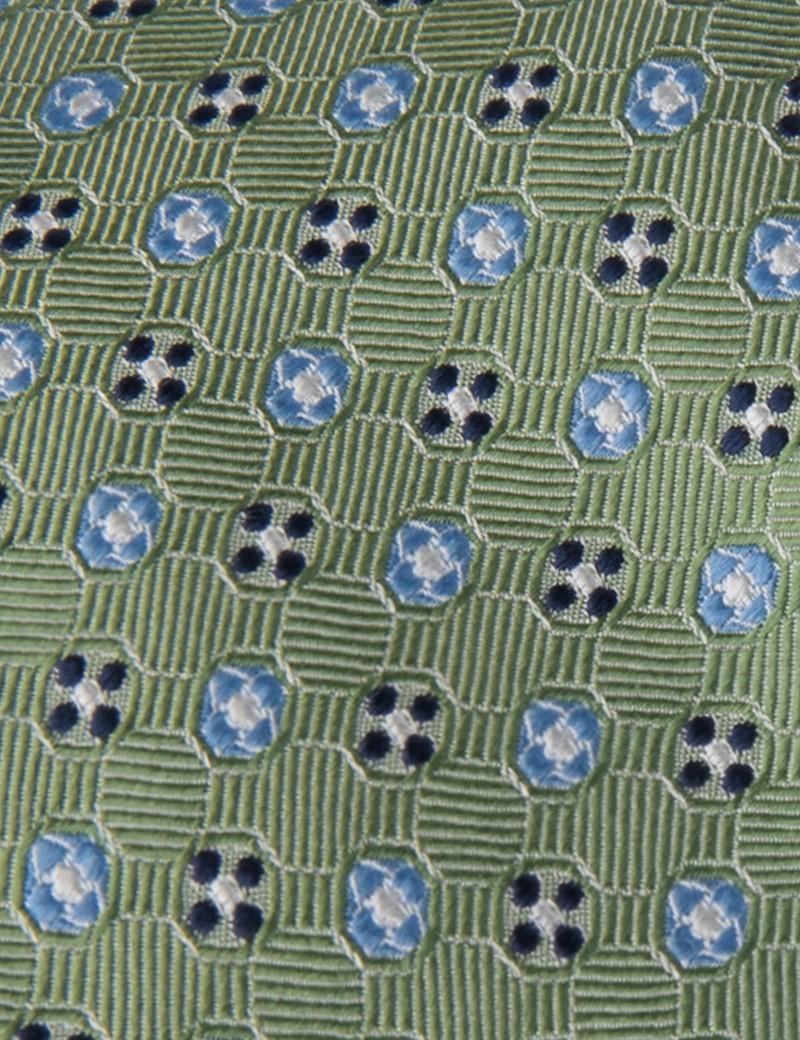 Men's Green 2 Tone Circles Tie - 100% Silk