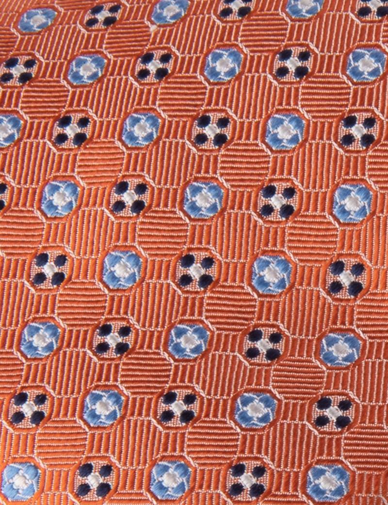 Men's Orange 2 Tone Circles Tie - 100% Silk