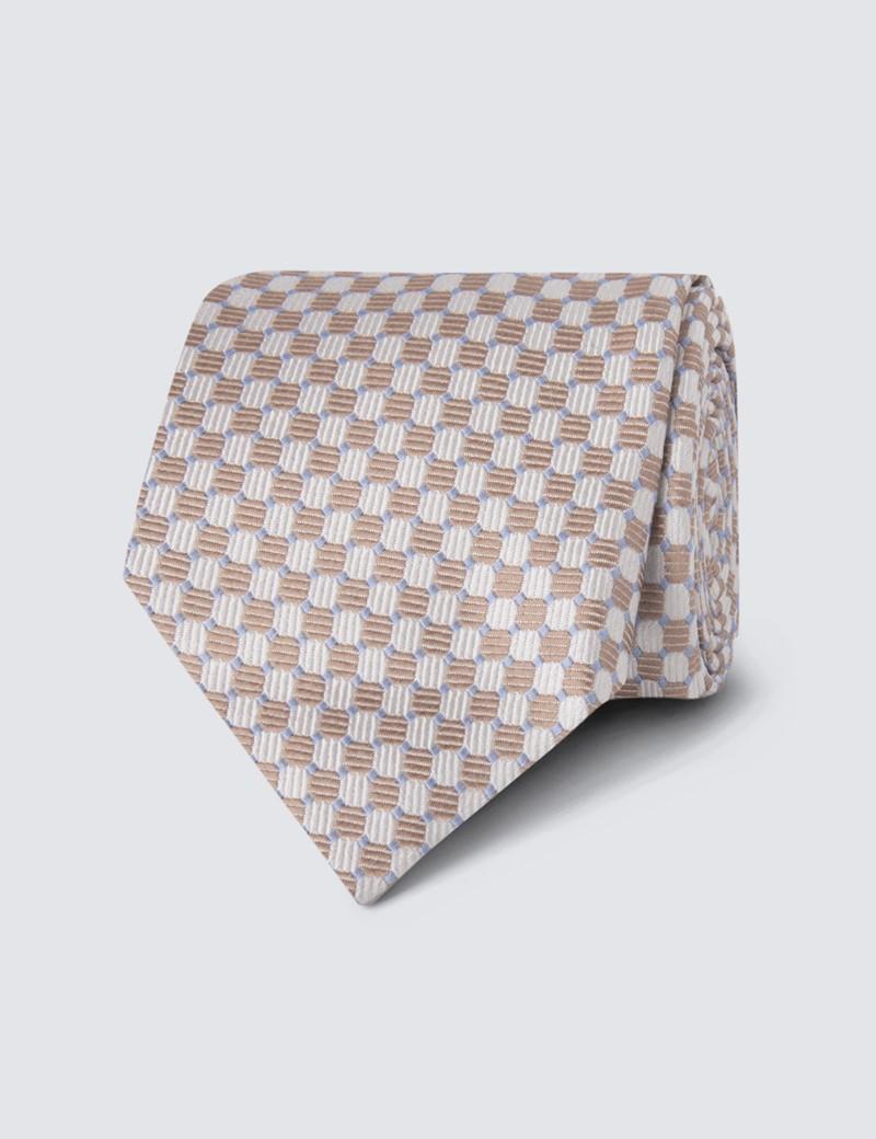 Men's Cream Printed Circles Tie - 100% Silk