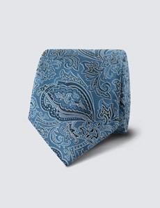 Krawatte – Seide – Schmal – blau Paisley