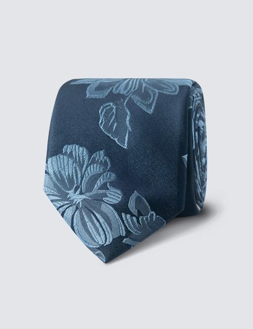 Men's Navy & Light Blue Big Floral Tie - 100% Silk