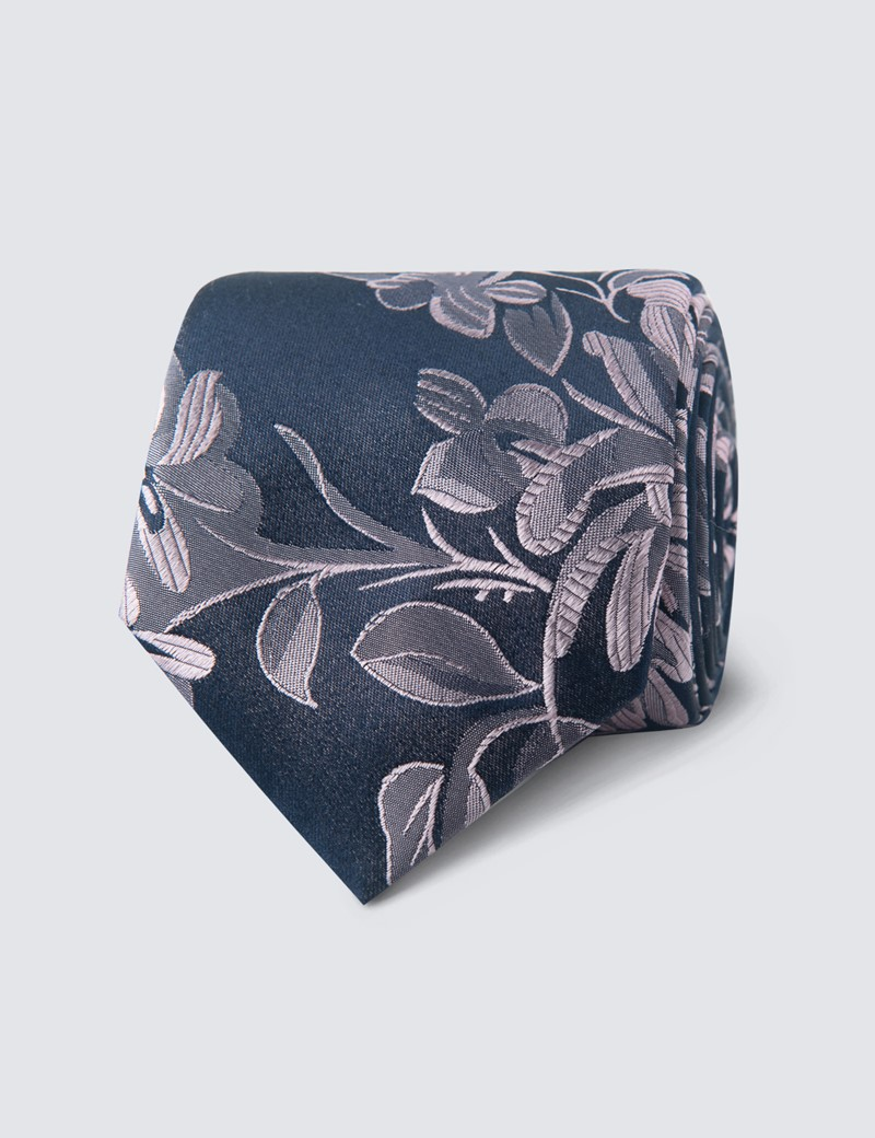 Men's Navy & Light Pink Big Floral Tie - 100% Silk