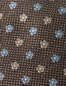 Men's Brown & Light Blue 2 Tone Geometric Print Tie - 100% Silk