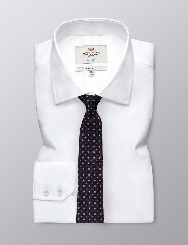 Men's Navy & Red 2 Tone Geometric Print Tie - 100% Silk