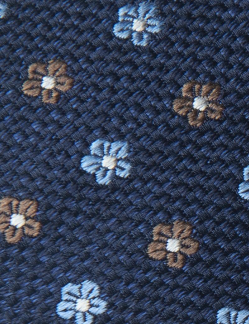 Men's Navy & Brown 2 Tone Geometric Print Tie - 100% Silk