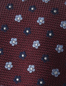 Men's Wine & Navy 2 Tone Geometric Print Tie - 100% Silk