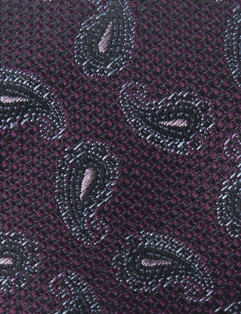 Men's Purple Small Paisley Print Tie - 100% Silk