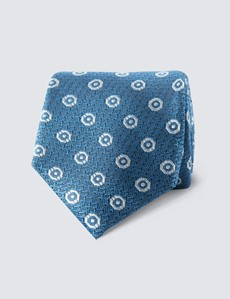 Men's Blue Octagon Geometric Print Tie - 100% Silk