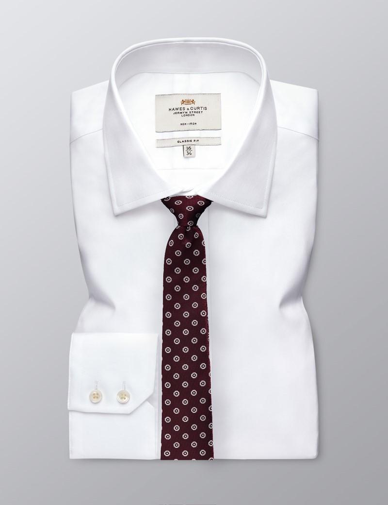Men's Wine Octagon Geometric Print Tie - 100% Silk